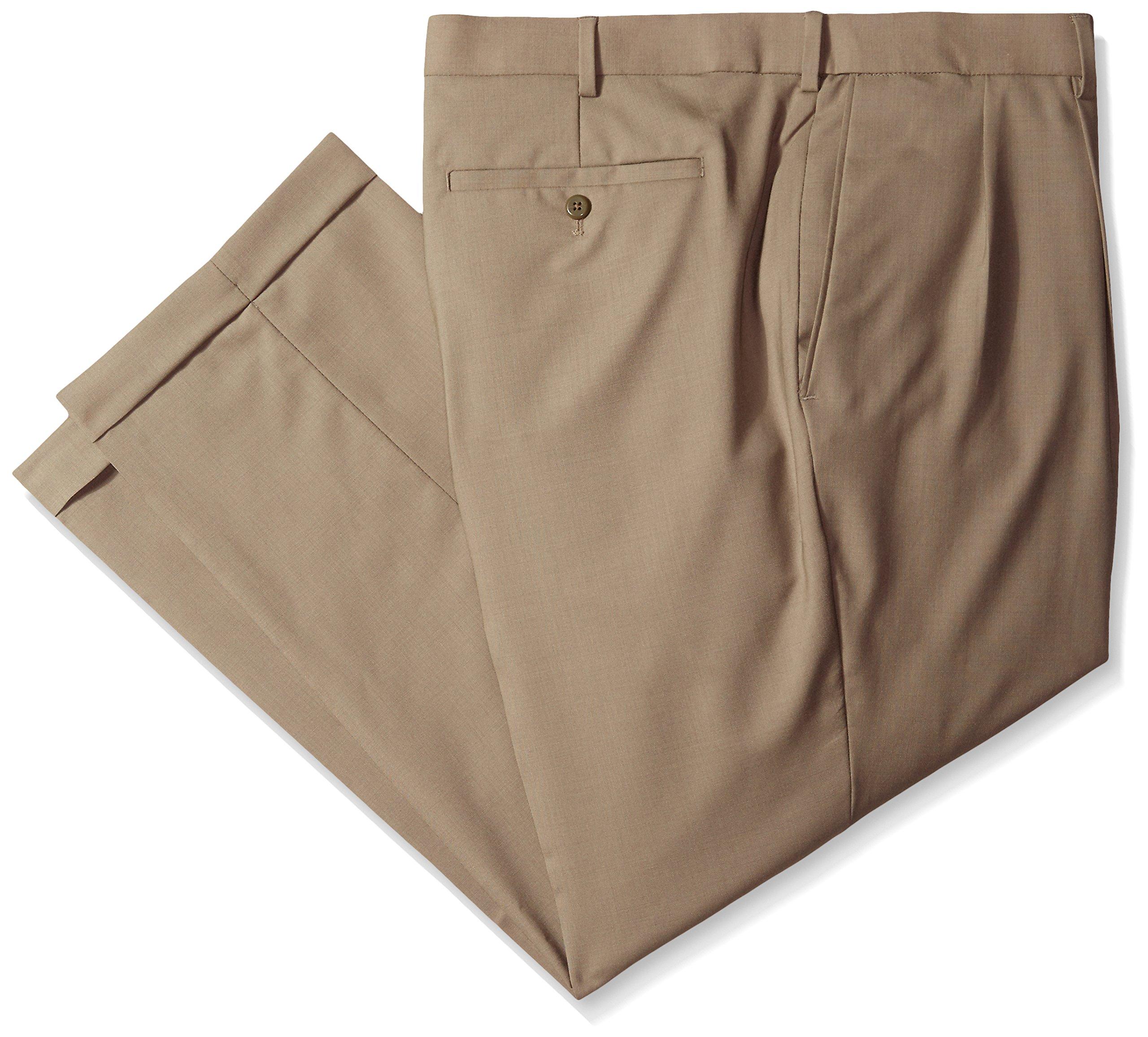 Louis Raphael Mens Luxe Wool Flat-Front Hidden-Extension Dress Pant