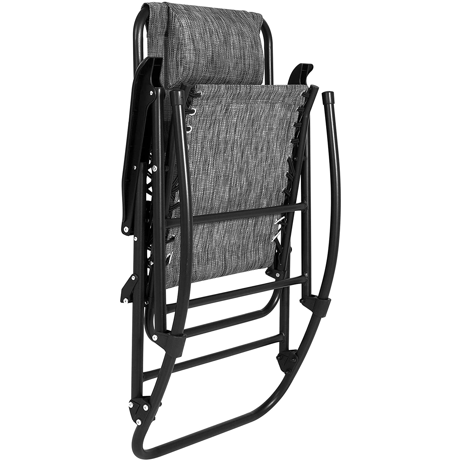 Gray Best Choice Products Foldable Zero Gravity Rocking Mesh Patio Recliner Chair with Headrest Pillow