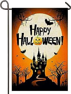 "Atenia Halloween Burlap Garden Flag, Double Sided Happy Halloween Garden Fall Outdoor Yard Flags for Autumn Decor (Garden Size - 12.5X18"")"