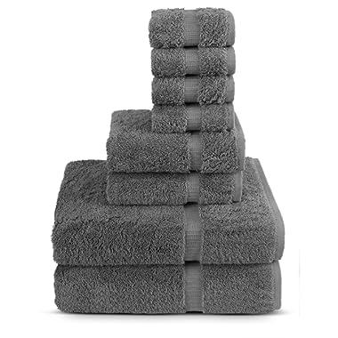 Turkuoise Turkish Towel 8-Piece Cotton Towel Set, Grey