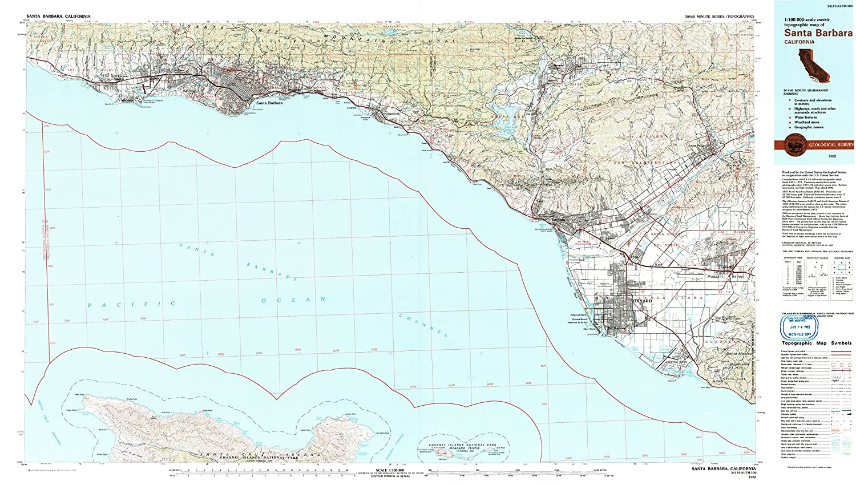Santa Barbara California Map.Amazon Com Yellowmaps Santa Barbara Ca Topo Map 1 100000 Scale