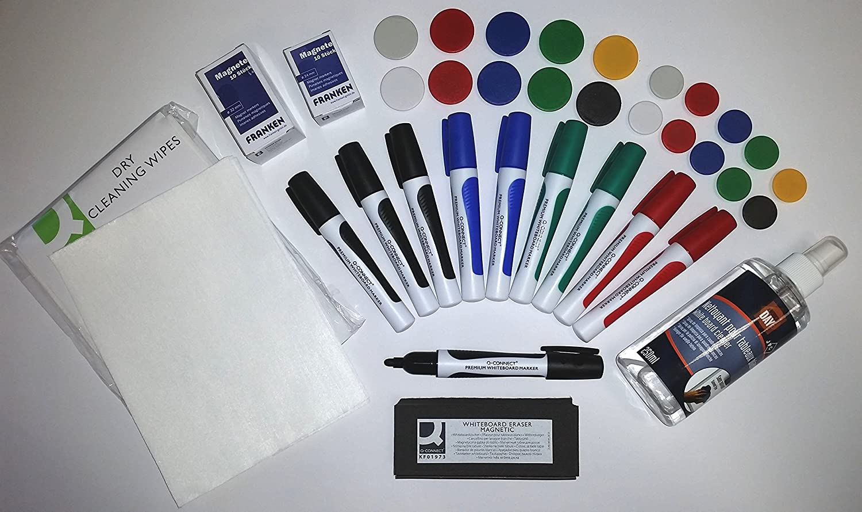 Tafellöscher,10 Magnete Kores Whiteboard-Marker Set 4 Keilspitze 3-5mm
