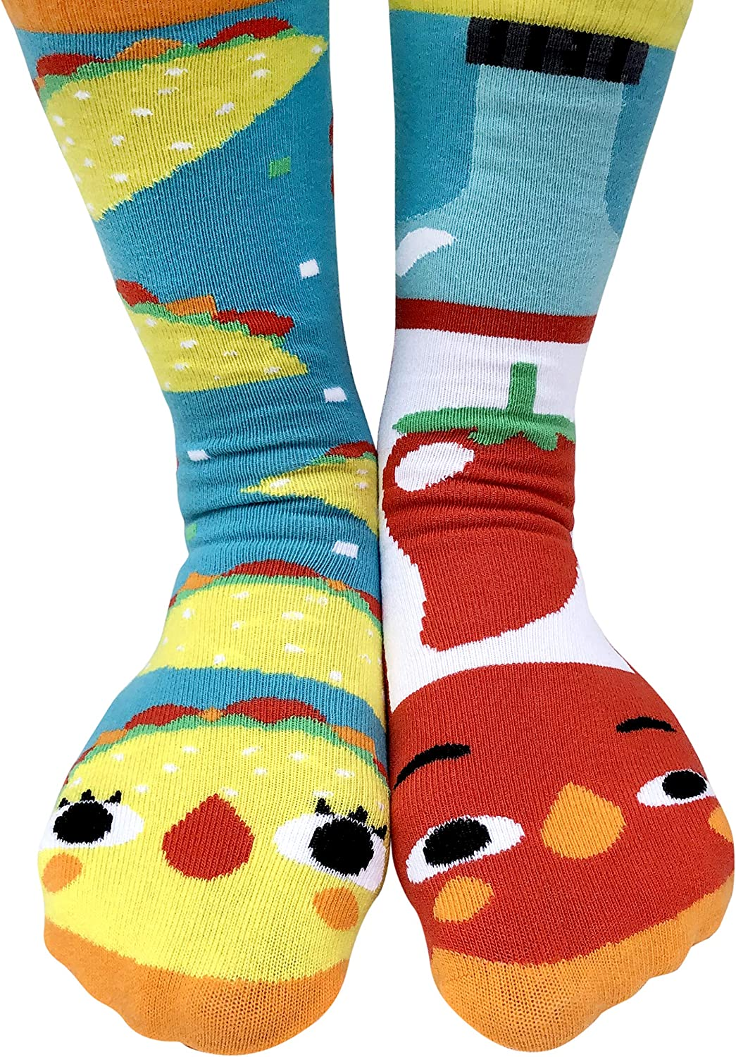 Taco & Hot Sauce Funny Collectible Mismatched Food Friends Mens Womens Kawaii Artist Style Cotton Crew Socks