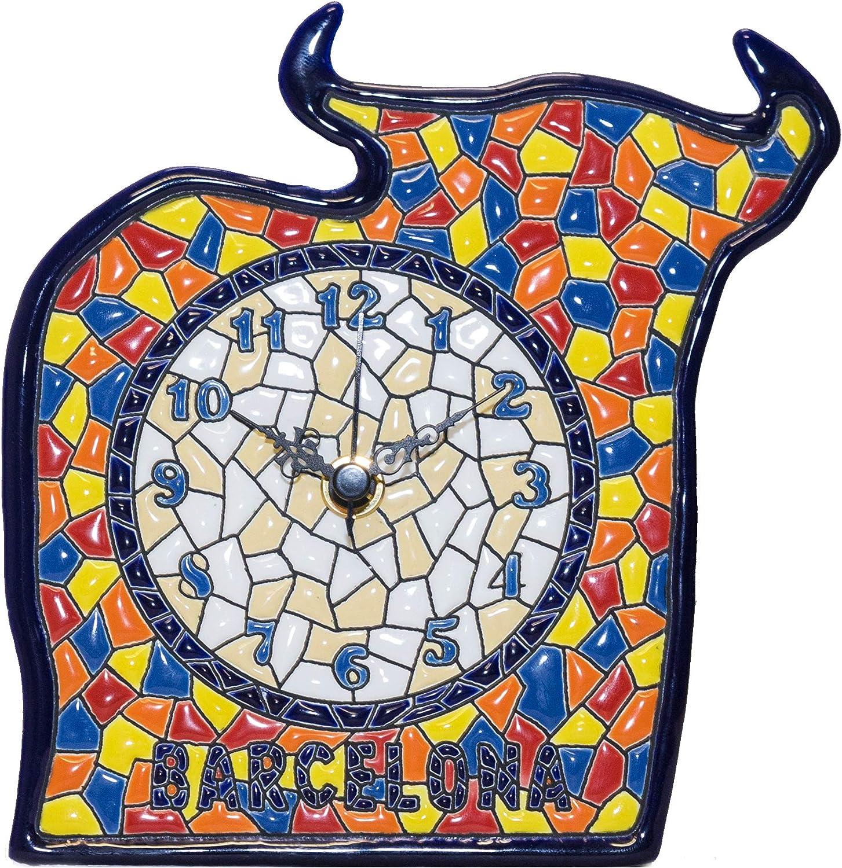 Cerámica española. Souvenir Barcelona Reloj Toro cerámica Decorativa artística andaluza Sobremesa Colección: Souvenir y Regalos Decoración Hogar. Tauro.: Amazon.es: Hogar