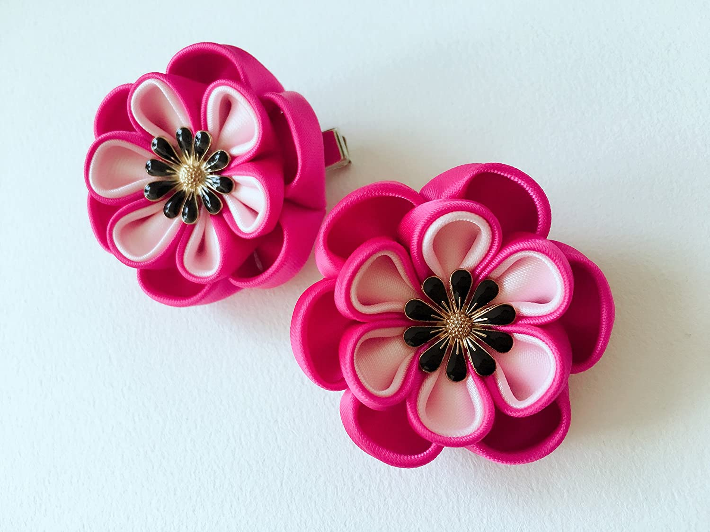 Tsumami Kanzashi - Clip de pelo con flor para el pelo, Kanzashi, accesorios para el pelo de boda, Kanzashi, horquilla para el cabello, clip de pelo Sakura, juego de 2 unidades