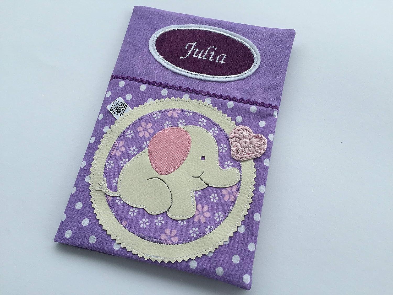 U-Heft Hülle//Schutzhülle Name Untersuchungsheft Vorsorgeheft Elefant Baby