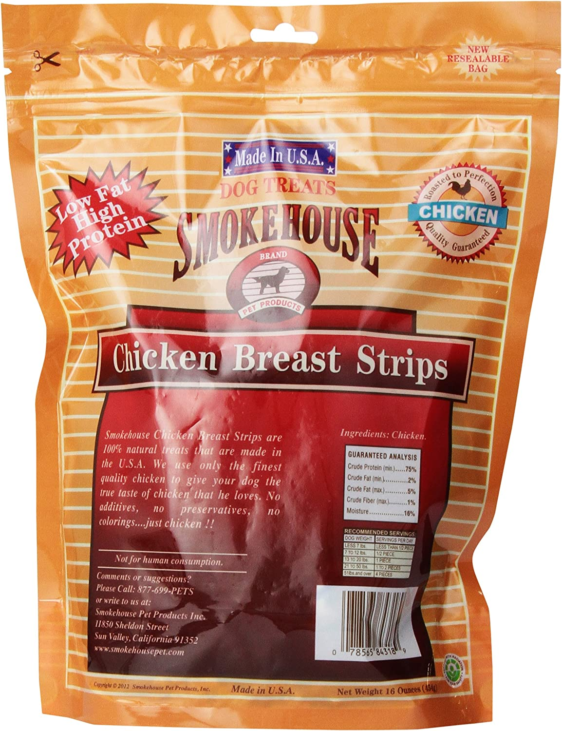 Smokehouse 100 Natural Chicken Breast Strips Dog Treats