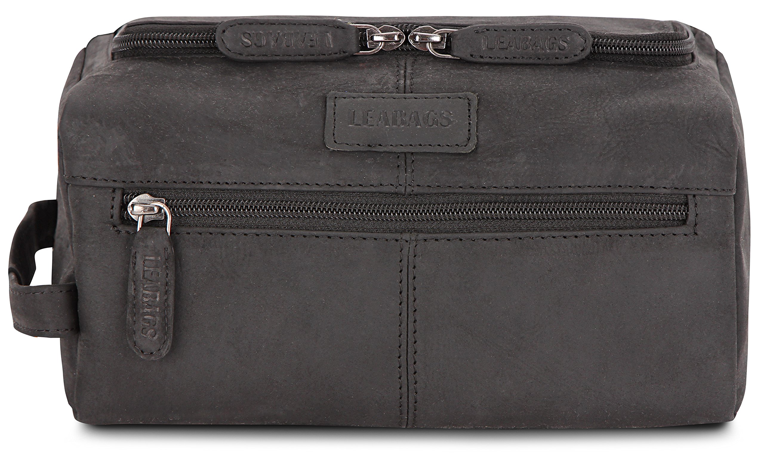 LEABAGS Palm Beach genuine buffalo leather toiletry bag in vintage style - Black