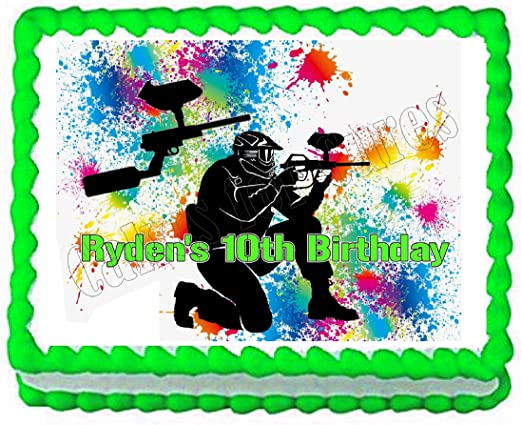 Super Cakes For Cures Paintball Party Edible Cake Image Cake Topper Birthday Cards Printable Giouspongecafe Filternl