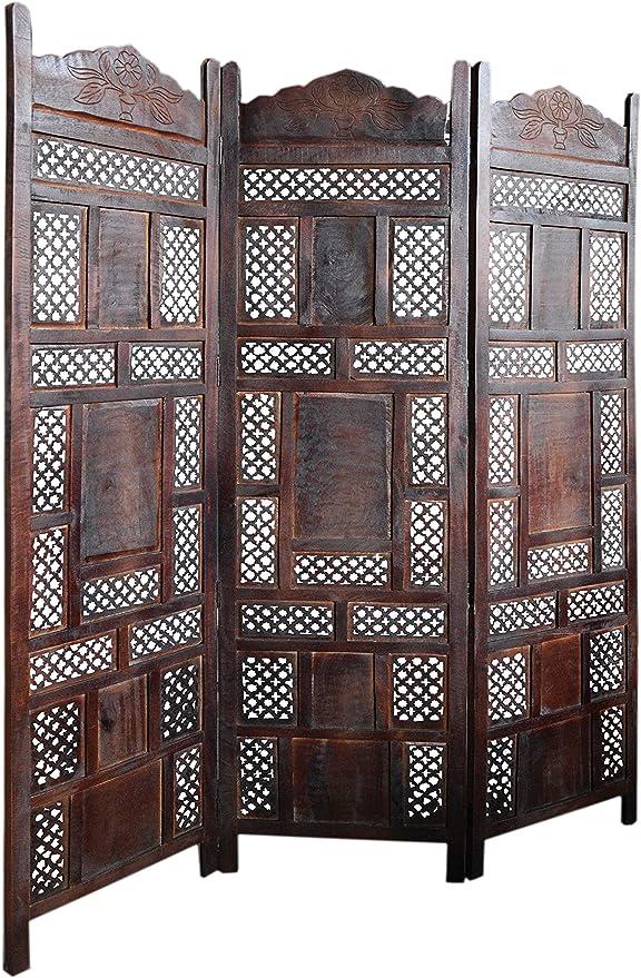 Biombo oriental de madera Ishara, 150 x 181 cm de alto, en color marrón, separador indio