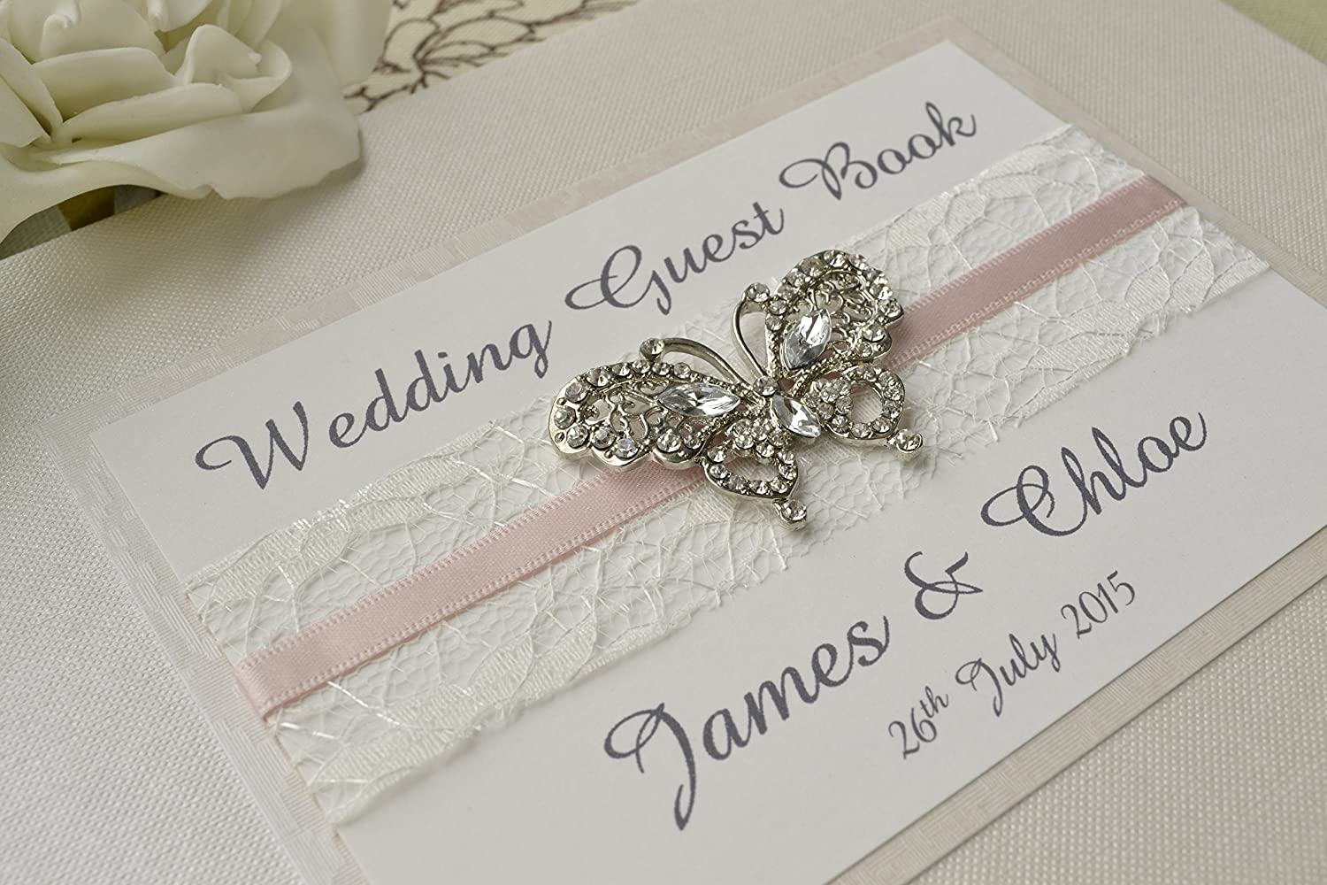 Diamante Butterfly Wedding Guest Book ♥ Luxury Personalised Wedding Guest Book Creative Bridal