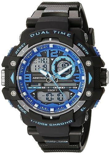 Armitron Sport Mens 20/5062BLU Blue Accented Analog-Digital Chronograph Black Resin Strap Watch