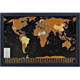 """Fernweh360 Scratch Off World Map with US States and Country Flags (Black Deluxe 33.11"""" x 23.39"""")-Track Your Travel Story -Detailed Cartography with Precision Scratch Tool & Gift Tube Packaging"""