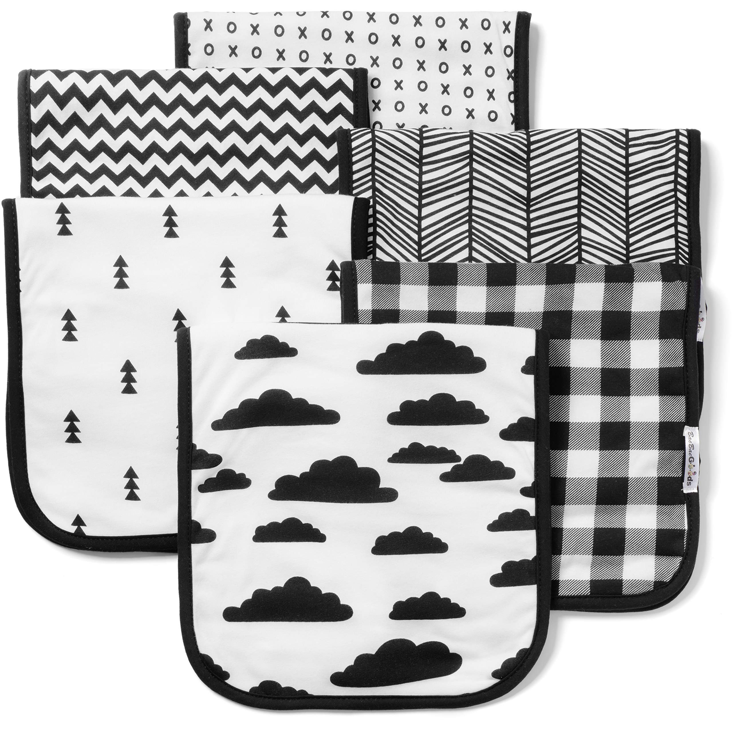 Baby Burp Cloths Set (6 Pack), Super Soft Cotton, Large 21''x10'', Thick, Soft and Absorbent Towels, Burping Rags for Newborns, Baby Shower Gift for Boys and Girls by BaeBae Goods