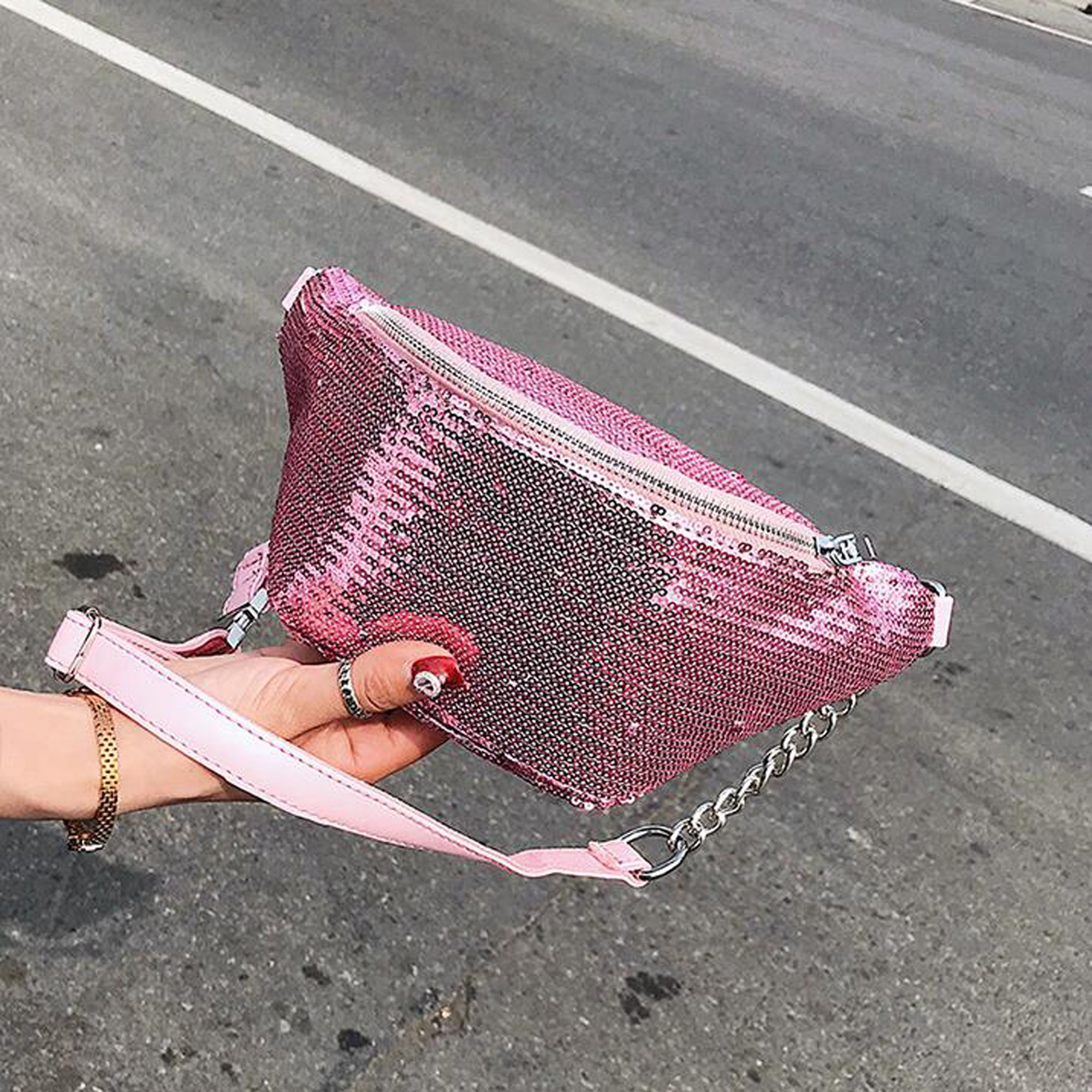 Womens Sequined Waist Fanny Pack Belt Pouch Sling Chest Bag Crossbody Hip Purse (pink) by JIANBAO (Image #7)