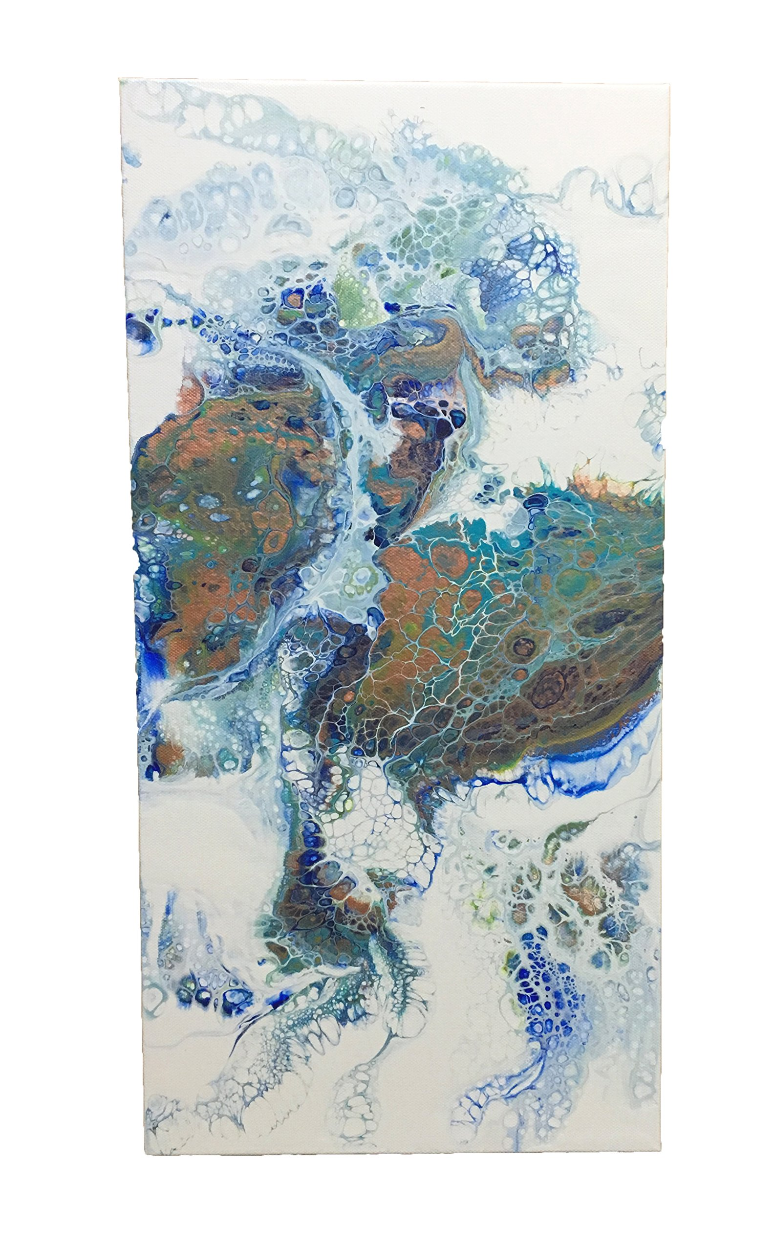 Original Fluid Acrylic Abstract 10'' x 20'' on Stretched Canvas ''Other Worlds II''