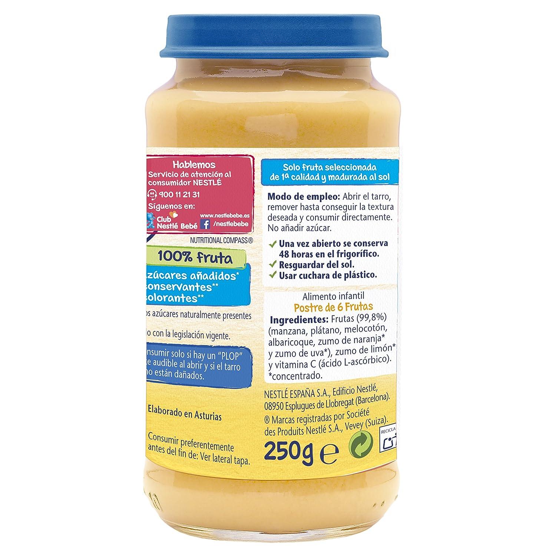 Nestlé Purés - Tarrito de puré de fruta, variedad Postre 6 Frutas - Para bebés a partir de 4 meses - Paquete de 6 Tarritos de 250g: Amazon.es: Alimentación ...