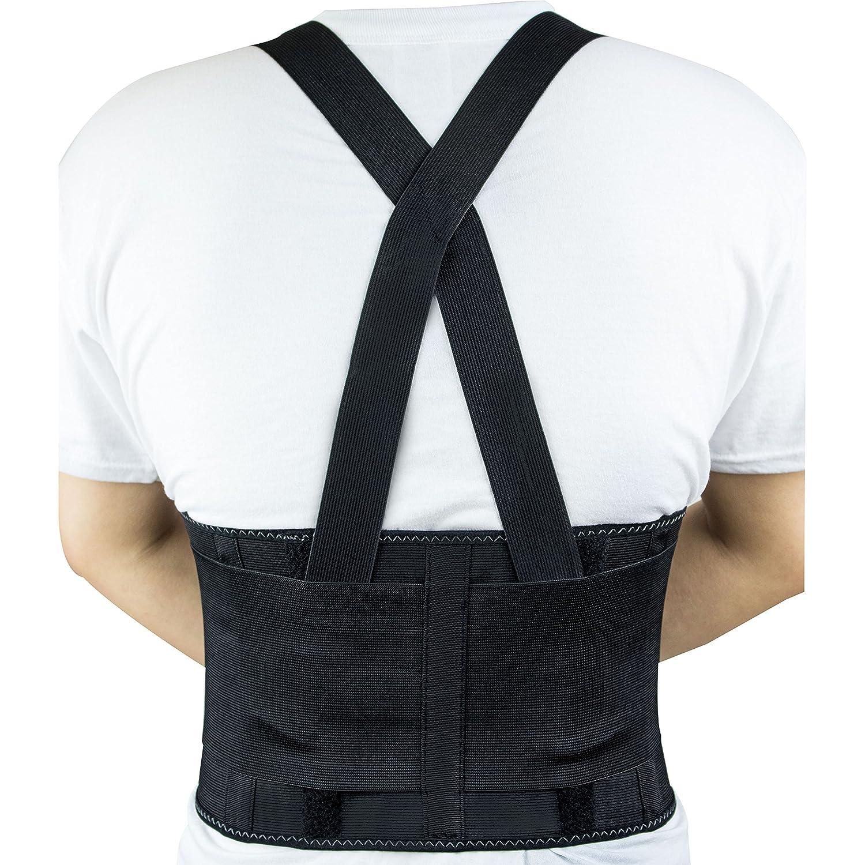 2XL, Black RK Industries Group Inc. RK Safety RKBST11 Elastic Back Support Belt with Adjustable Shoulder Straps
