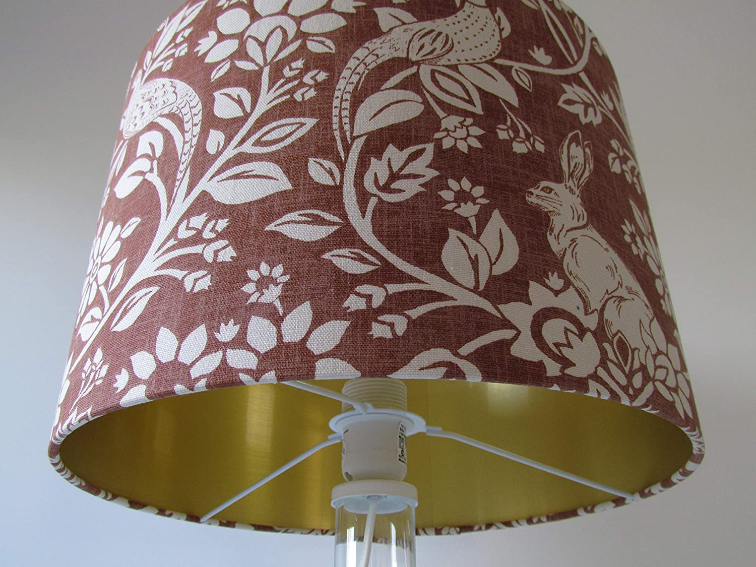 Handmade Copper Hare Pheasant Leaves Drum Lampshade Lightshade with Brushed Gold Metallic Lining