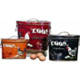 Creative Co-Op Decorative Rooster and Eggs Tin Box Set