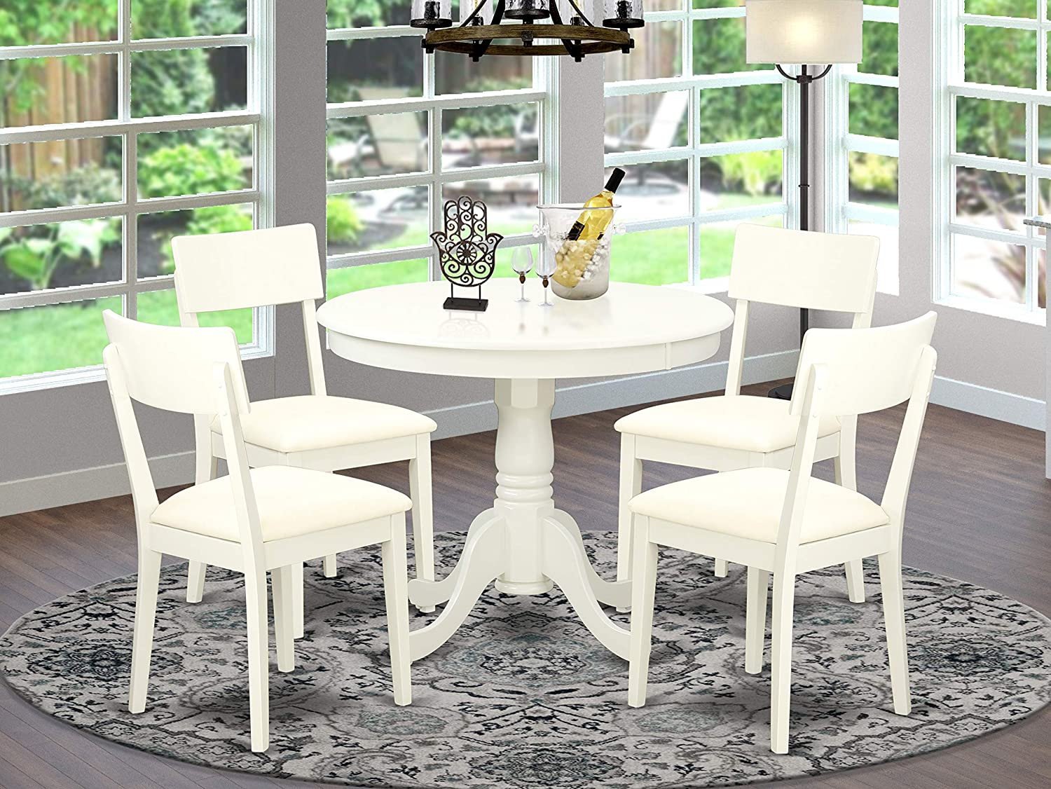 East-West Furniture ANAD5-LWH-LC Kitchen Dining Table Set- 4 Fantastic Wooden Dining Chairs - An Attractive Pedestal Dining Table- Faux Leather seat and Linen White Finish Round Wooden Dining Table
