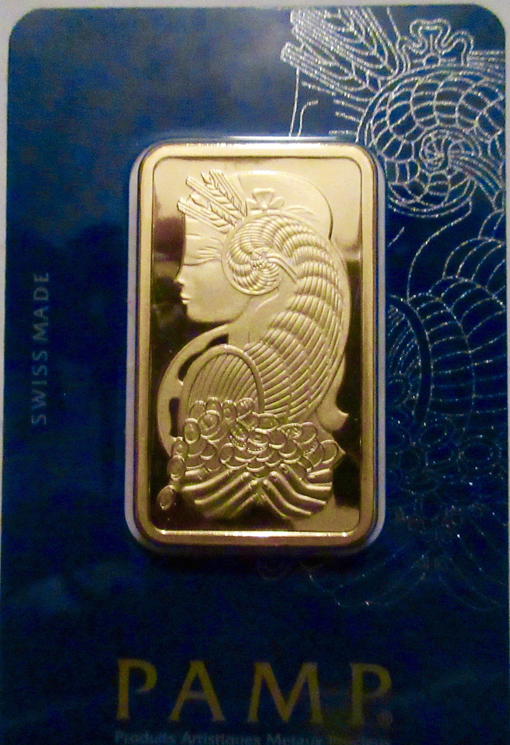 1 oz Gold Bar - PAMP Suisse Lady Fortuna Veriscan (In Assay)