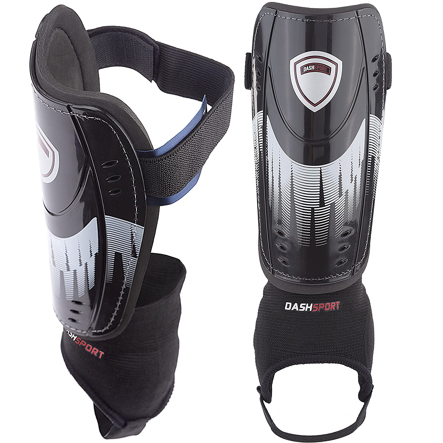 Soccer Shin Guards – ユースサイズ – by dashsport – Bestキッズ用サッカー機器with足首袖 – Great for Boys and Girls B01EE9EZ8A Medium 4'7 5'3|ホワイト ホワイト Medium 4'7 5'3