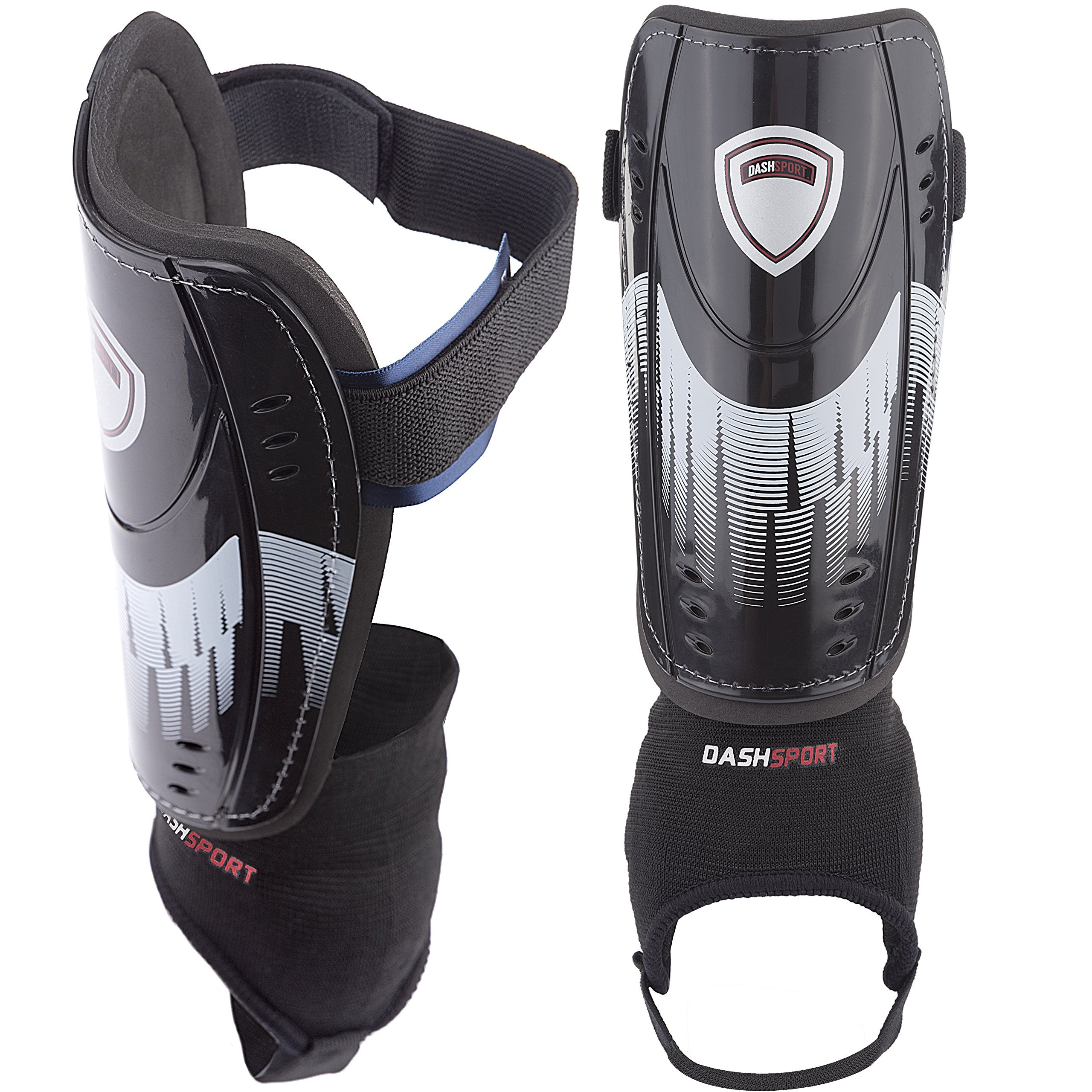 DashSport Soccer Shin Guards -Youth Sizes Best Kids Soccer Equipment with  Ankle Sleeves - Great for Boys and Girls 25148303f4ff