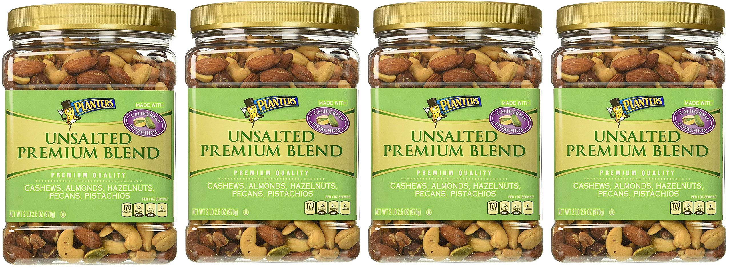 Planters Premium Blend Mixed Nuts, Unsalted, 34.5 Ounce, 4 Tubs