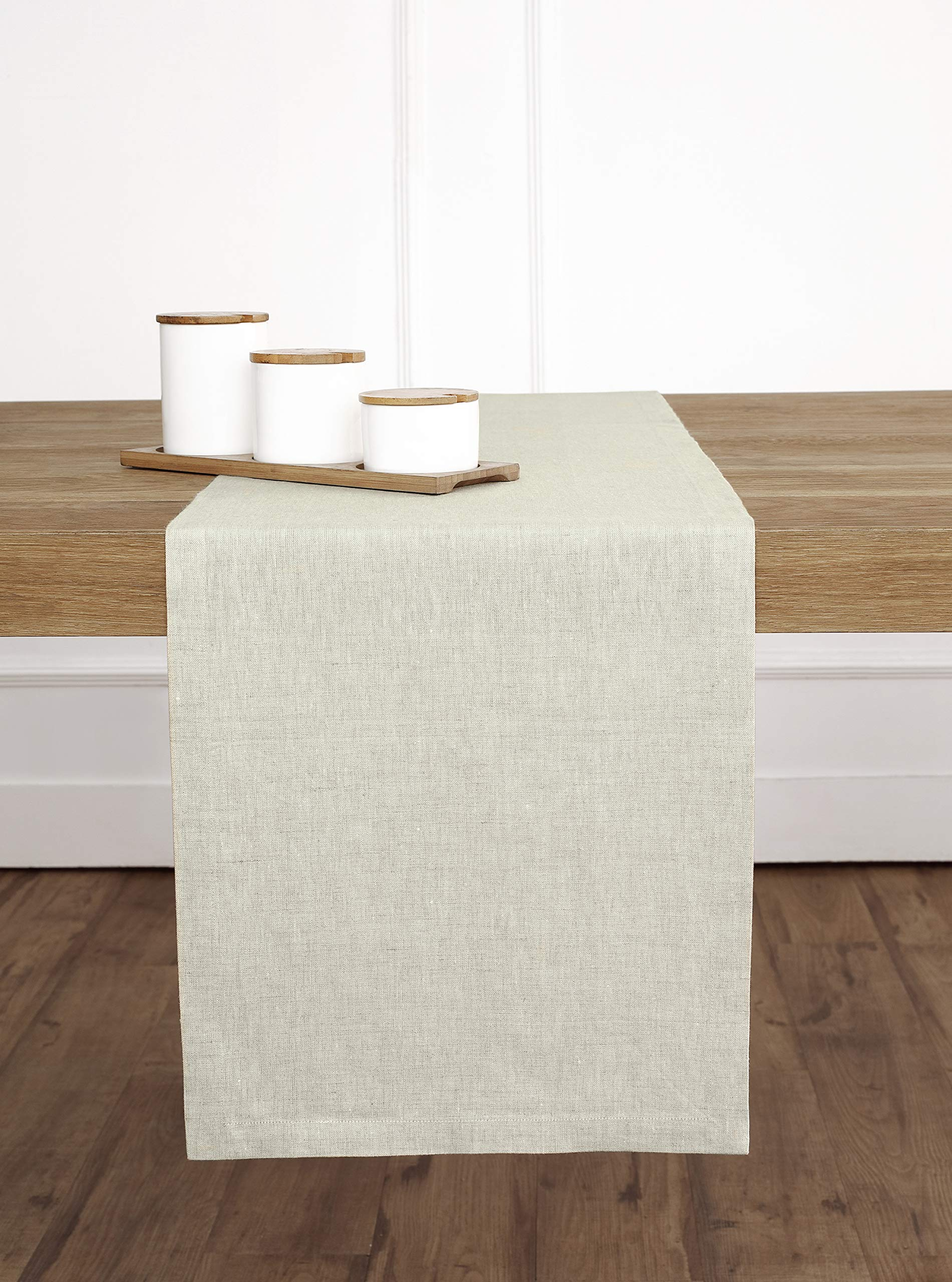 Solino Home Medium Weight Linen Table Runner - 100% Pure Linen - 14 x 72 Inch, Chambray Ivory - Handcrafted by skilled Artisans from 100% European Flax Size - 14 x 72 Inch Easy Care - Machine Washable, Low Iron as Needed - table-runners, kitchen-dining-room-table-linens, kitchen-dining-room - 91mrsdISqDL -