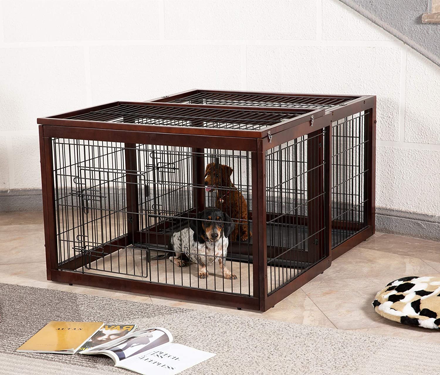 Simply Plus Wood & Wire Dog Crate Rotatable Crate with Slide Tray and Detachable Top Cover Indoor Pet Crate Side Table New Zealand Solid Wood