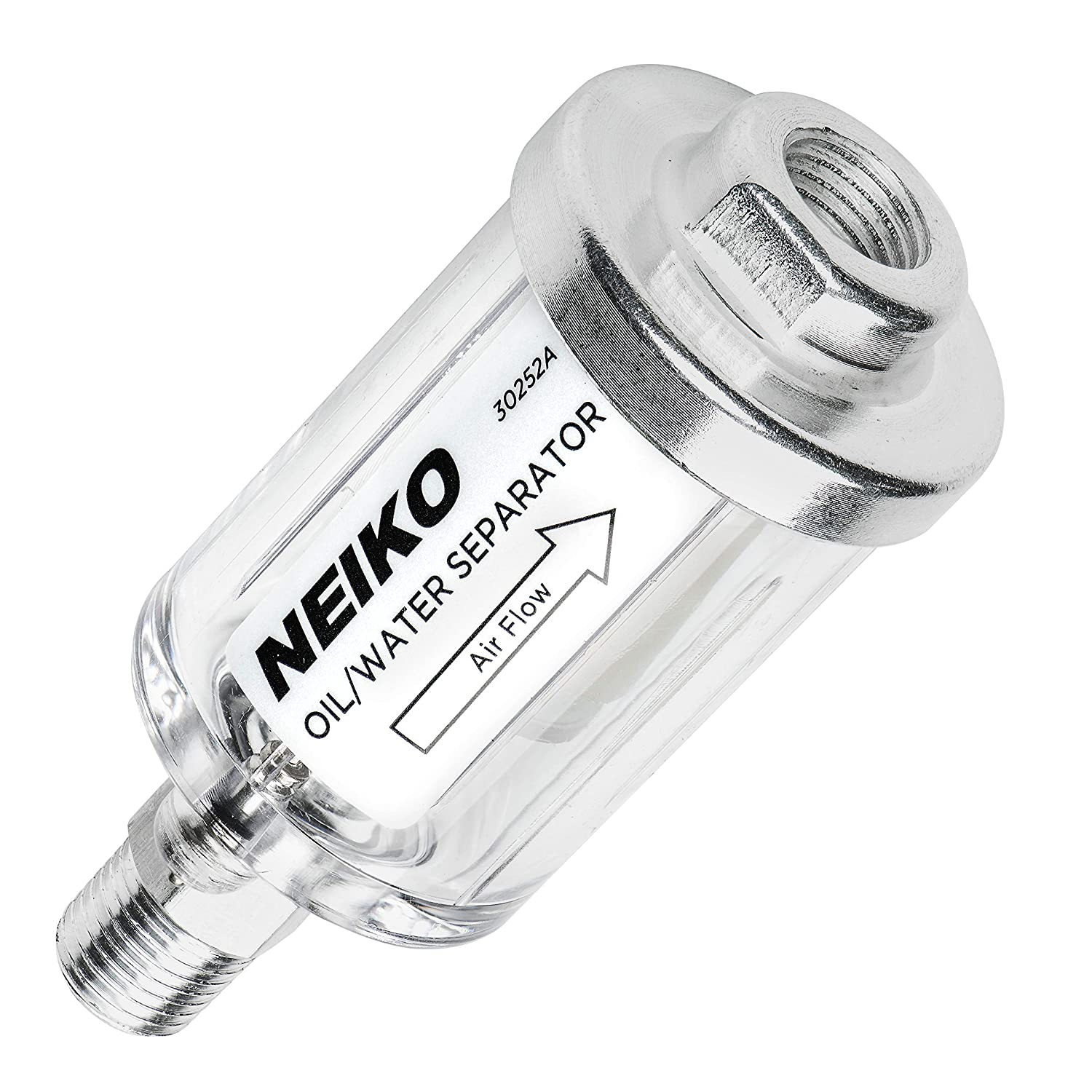 """Neiko 30252A Water and Oil Separator for Air Line, 1/4"""" NPT Inlet and Outlet, 90 psi"""