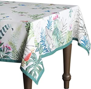 Maison d' Hermine Tropiques 100% Cotton Tablecloth for Kitchen Dining | Tabletop | Decoration | Parties | Weddings | Spring/Summer (Rectangle, 60 Inch by 90 Inch)