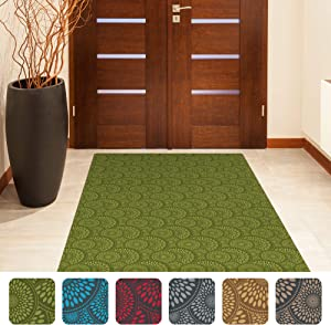 "Shape28 Hallway Mat Ultra-Thin Kitchen Runner Rug with Non Slip Rubber Backing 72x36"", Green"