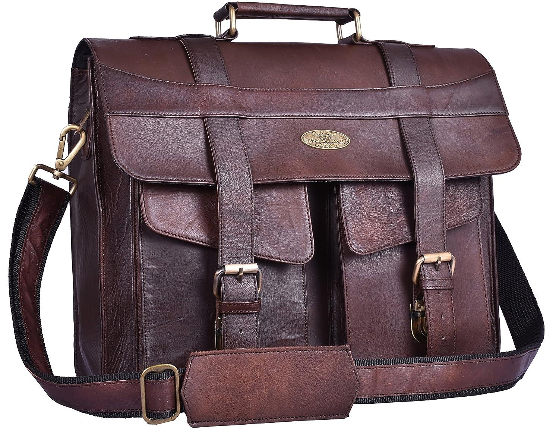 Amazon.com  Handmade World Leather Briefcase for Men Women Messenger Bags  16 Inch Brown Vintage Distressed Look Best Laptop Computer Satchel School  Bag  ... eeca3cde3b95d