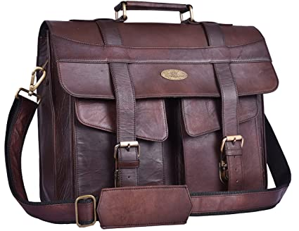 7d6b0cc91503 Image Unavailable. Image not available for. Color  Handmade World Leather  Briefcase for Men Women Messenger Bags 16 ...