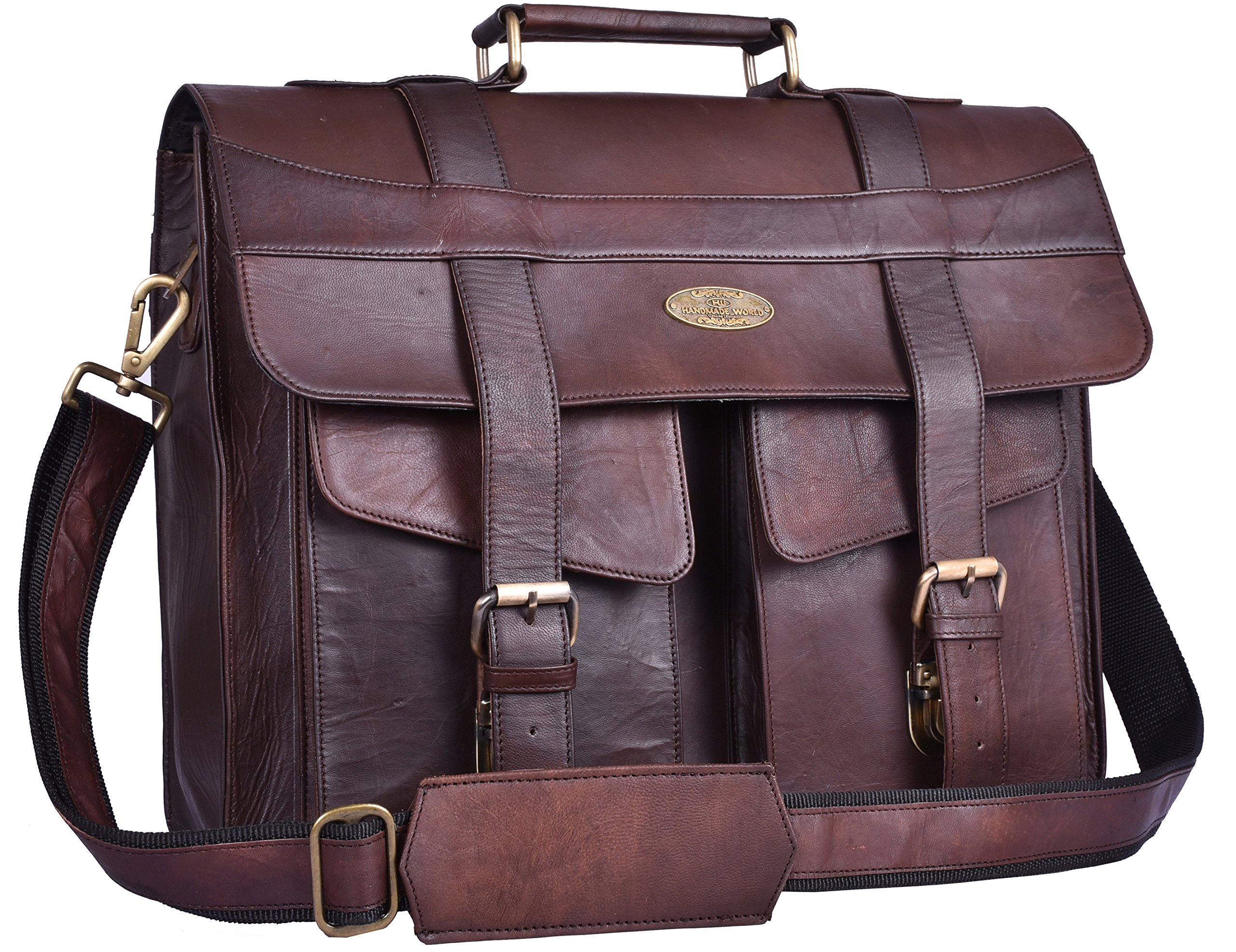 Handmade World Leather Briefcase for Men Women Messenger Bags 16 Inch Brown Vintage Distressed Look Best Laptop Computer Satchel School Bag
