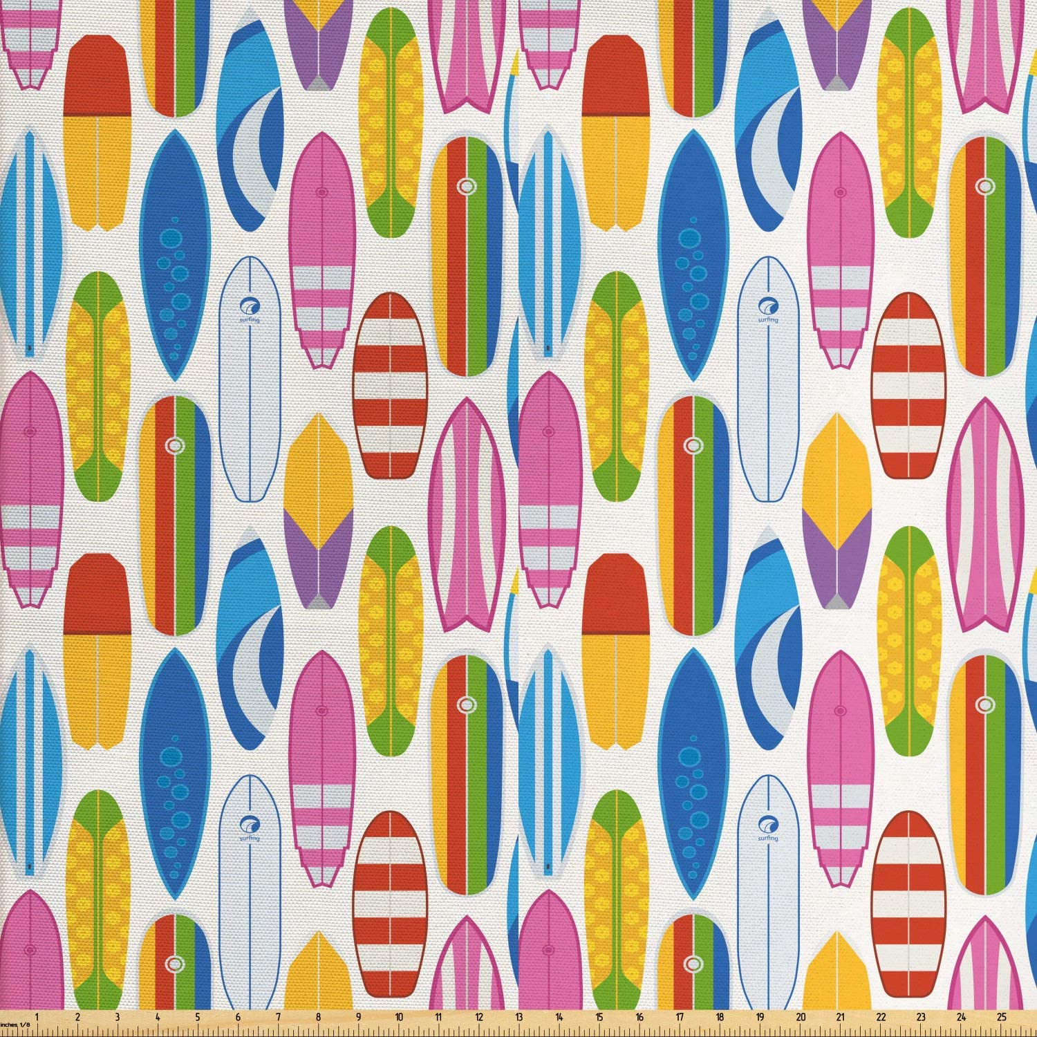 Ambesonne Surfing Fabric by The Yard, Repeating Summer Beach and Ocean Fun Item Colorful Various Surfboards Pattern, Decorative Fabric for Upholstery and Home Accents, 1 Yard, Pink Yellow