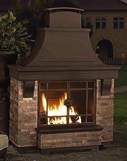 Amazon 42 outdoor montana ss wood burning fireplace w sunjoy japer wood burning fire place large teraionfo