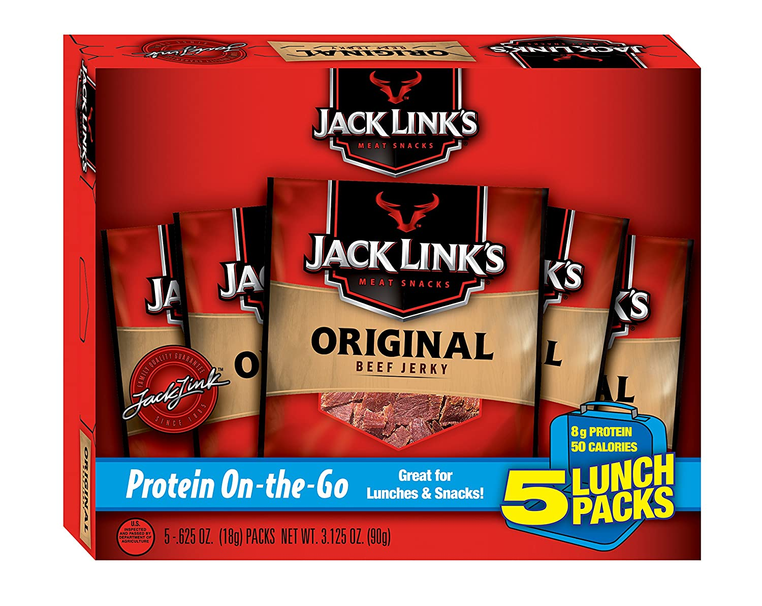 Jack Link's, Snack Packs, Original, 5-ct, 0.62 oz