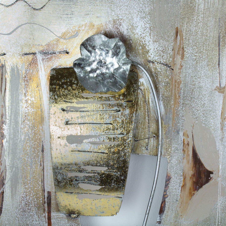 dise/ño de Flores Cuadro de Metal en 3D mosa designs 120 x 40 cm Color Dorado
