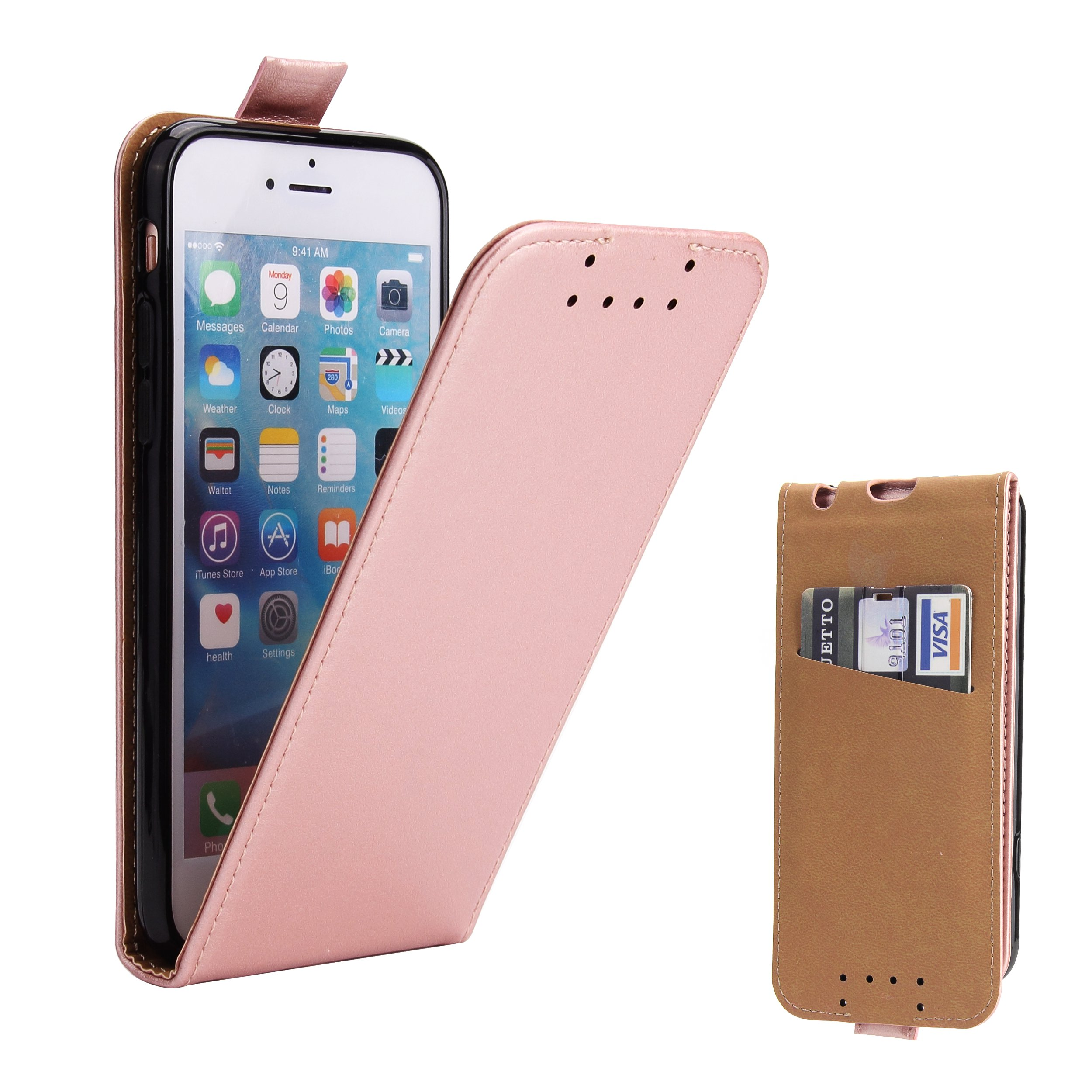 iPhone 6S Case, iPhone 6 Case, Supad Leather Flip Case [Credit Card ID Slot] Cover for iPhone 6S / 6 with Magnetic Closure (Rose Gold)
