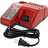 Milwaukee 48-59-1812 M12 or M18 18V and 12V Multi Voltage Lithium Ion Battery Charger w/Onboard Fuel Gauge