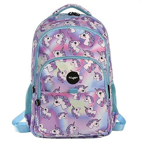 FRINGOO® Girls Boys Multi-compartment School Backpack Waterproof Fits Laptop 17'' (H:44cm*L:29cm*W:21cm, Hologram Unicorns)