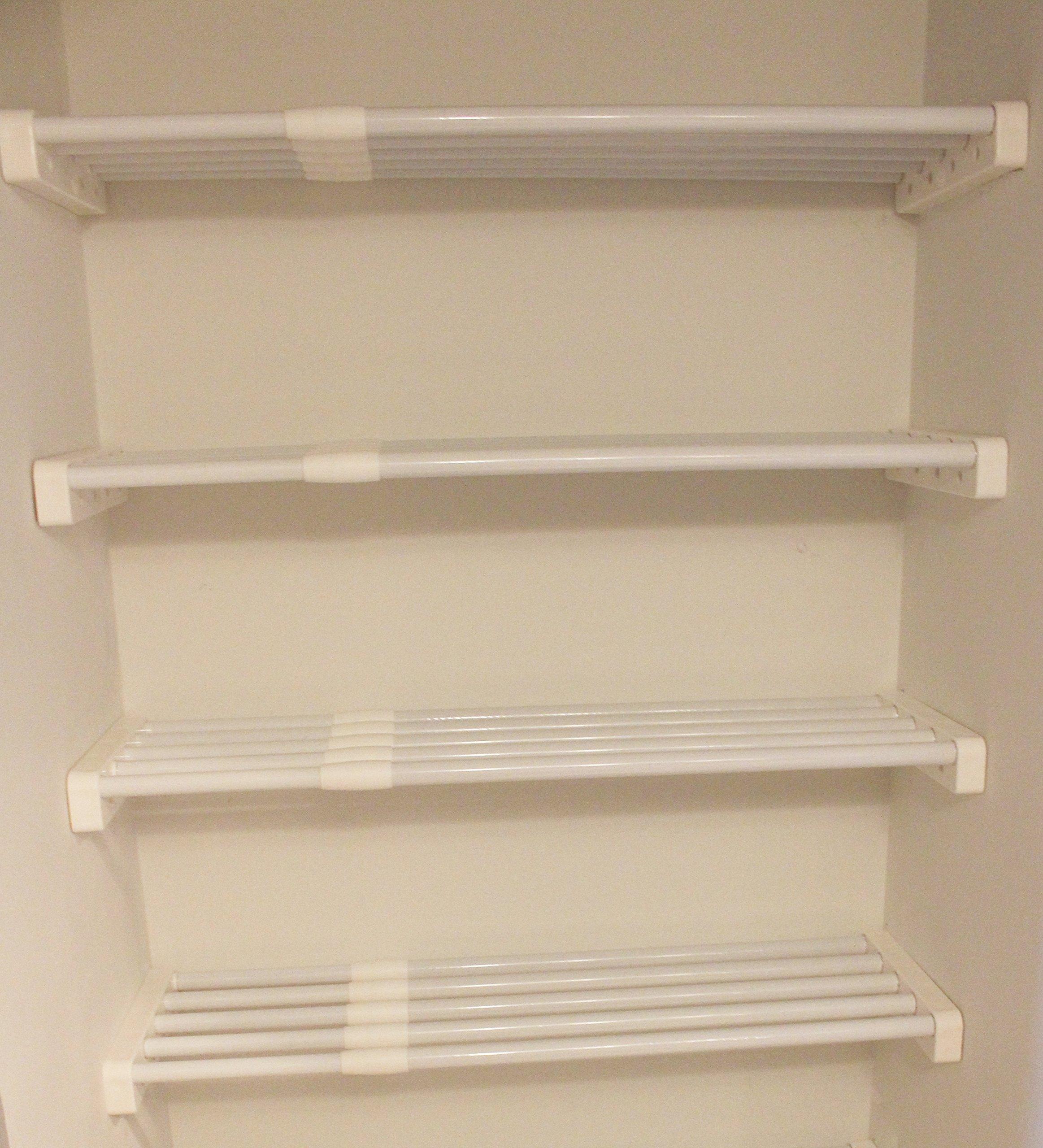 EZ Shelf - Expandable Linen Closet Kit - Four 17''-27'' Expandable Shelves - White