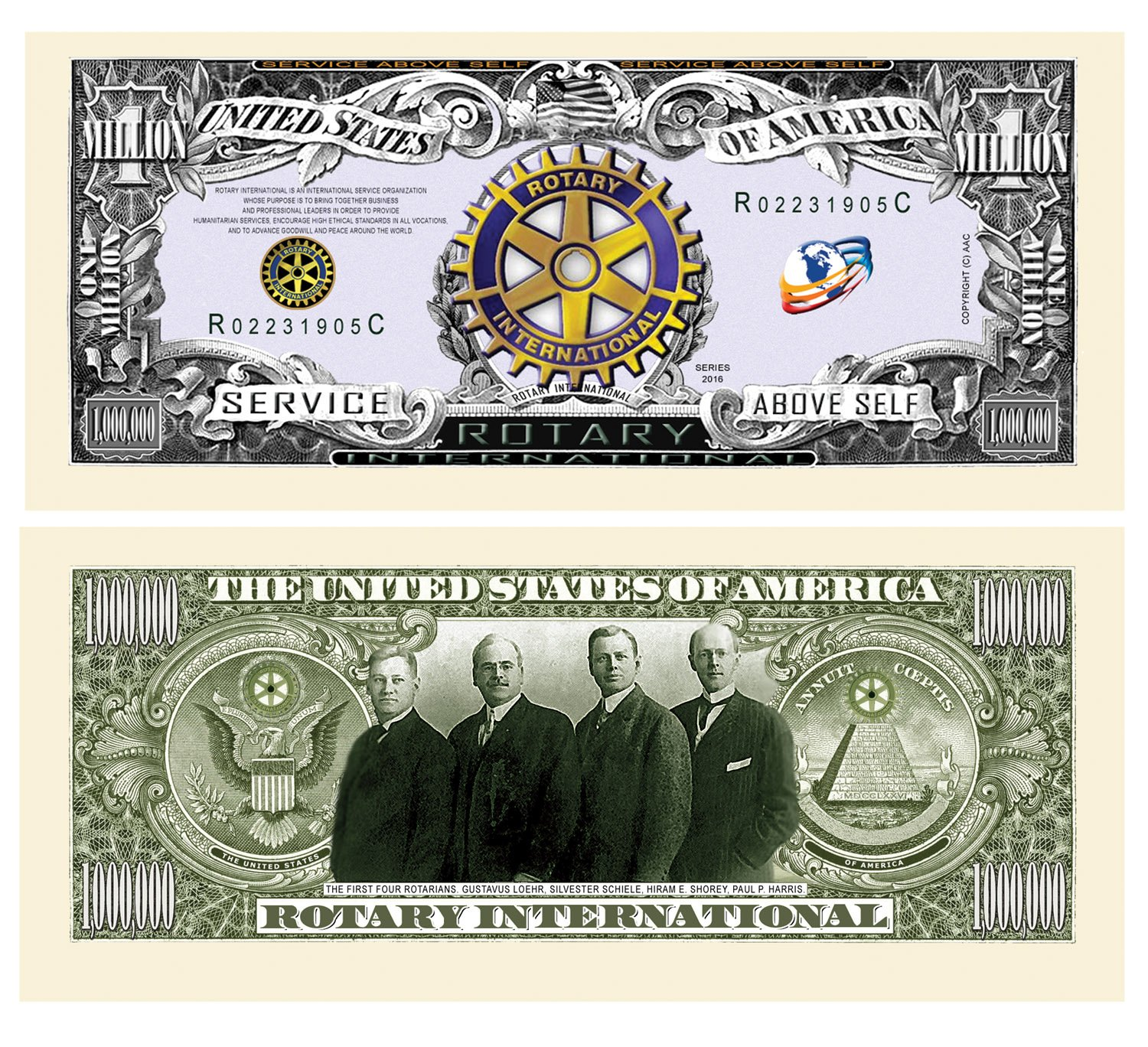 Pack of 100 - Rotary Club Rotarian Million Dollar Bill - Best Gift Or Keepsake for Rotarians