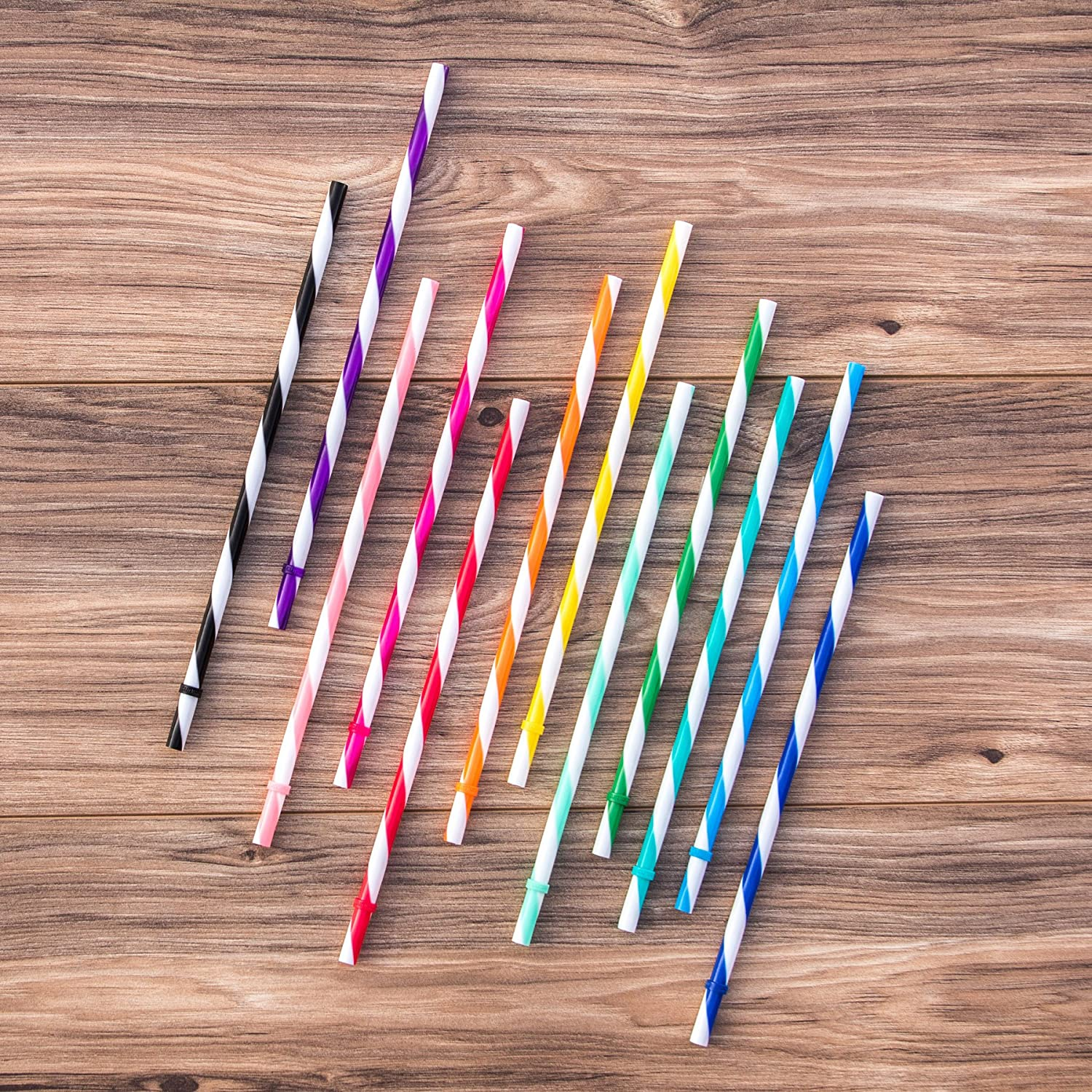Unbreakable Color Striped Straws (12 Count)