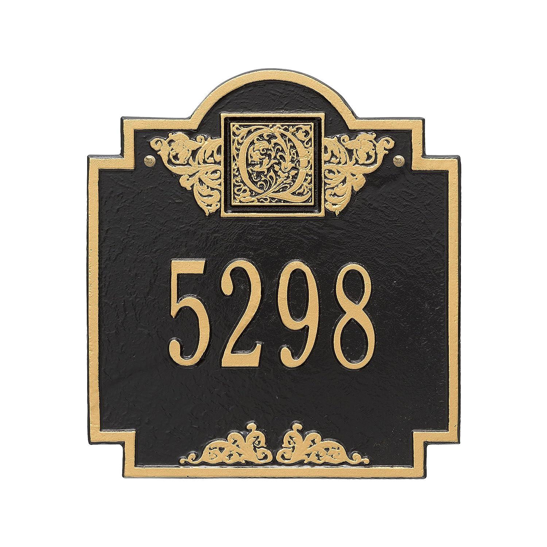 正方形モノグラム標準壁単線アドレスPlaque – ブラック/ゴールド B0050KXYJ4