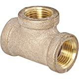 Anderson Metals 38101 Red Brass Pipe Fitting, Tee, 1/2 x 1/2 x 1/2 Female Pipe