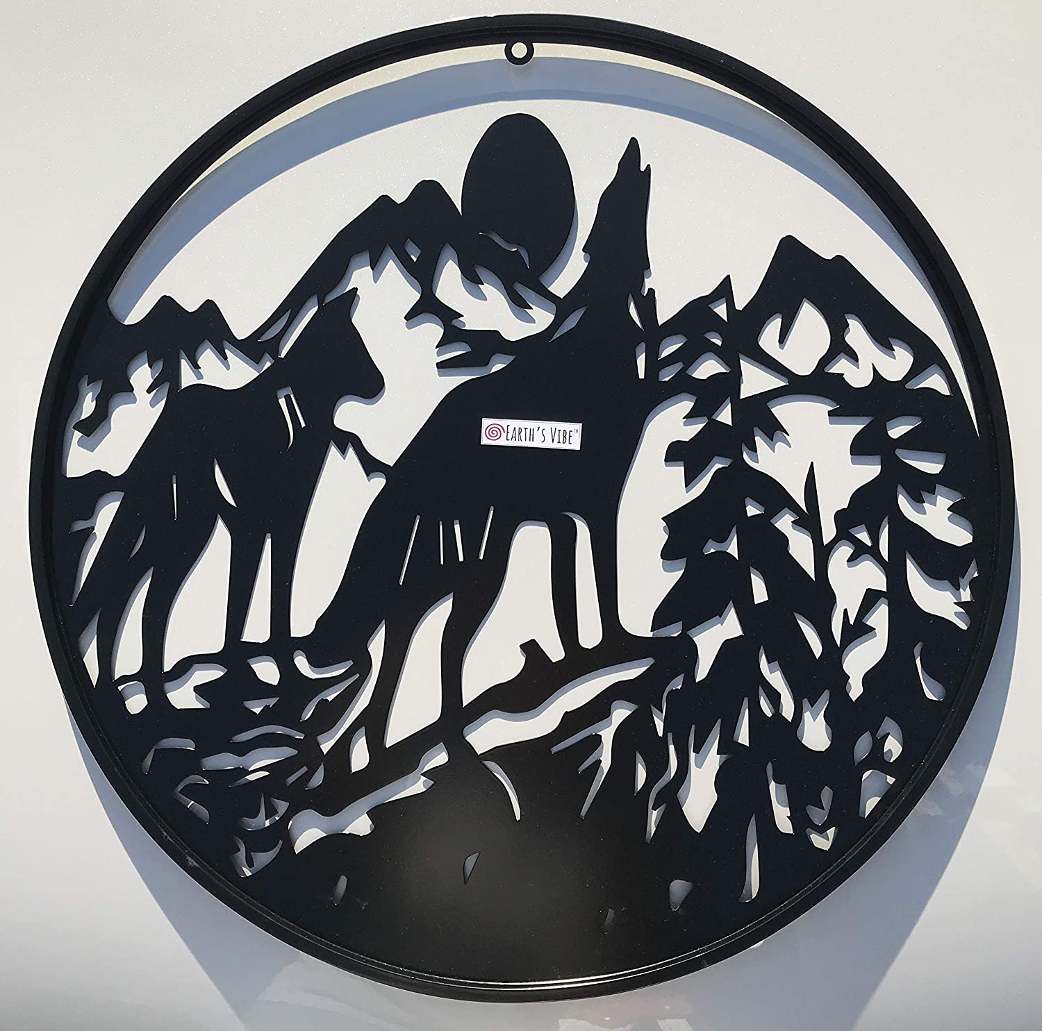 "Earth's Vibe | Wolf Howling at Moon | Metal Wall Art | Nature Inspired Decor | Large Hanging Modern Sculpture | Reconnect with your Roots | Decorative Heavy Duty Design | Indoor Outdoor Sign | 24"" Diameter"